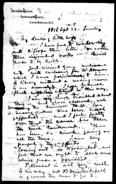 Letter from Alexander Graham Bell to Mabel Hubbard Bell, September 29, 1896