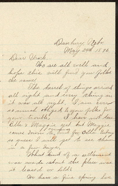 Letter from Estella Oblinger Stilgebouer to Charlie Thomas, May 24, 1896