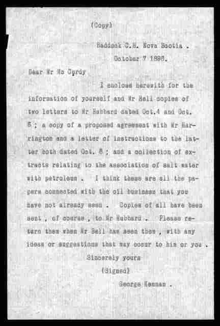 Letter from George Kennan to Arthur McCurdy, October 10, 1896