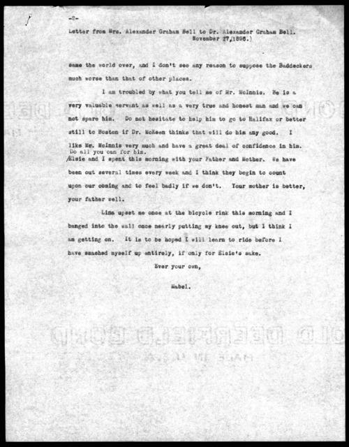 Letter from Mabel Hubbard Bell to Alexander Graham Bell, November 17, 1896