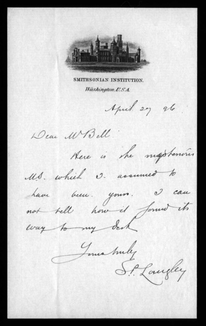 Letter from Samuel P. Langley to Alexander Graham Bell, April 27, 1896
