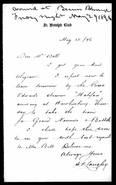 Letter from Samuel P. Langley to Alexander Graham Bell, May 26, 1896