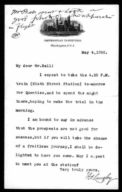 Letter from Samuel P. Langley to Alexander Graham Bell, May 4, 1896