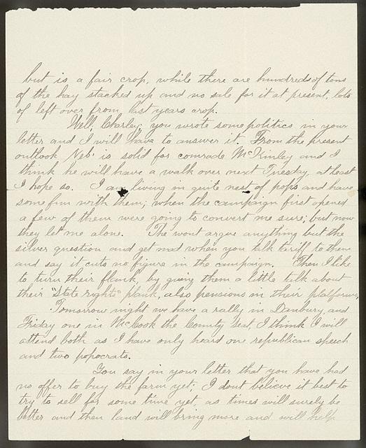 Letter from Uriah W. Oblinger to Charlie Thomas, October 27, 1896