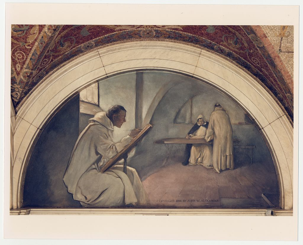 [Manuscript Book mural in Evolution of the Book series, John W. Alexander. Library of Congress Thomas Jefferson Building, Washington, D.C.]
