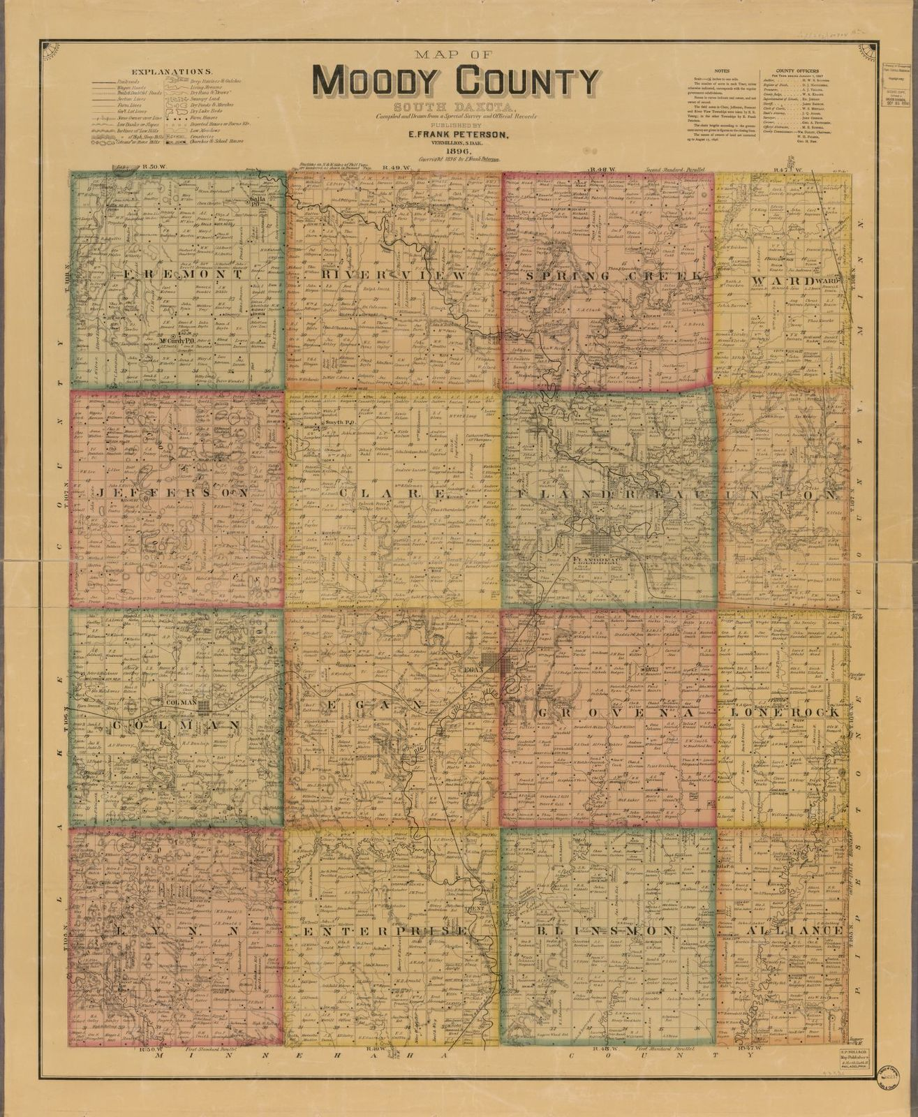 Map of Moody County, South Dakota : compiled and drawn from a special survey and official records.