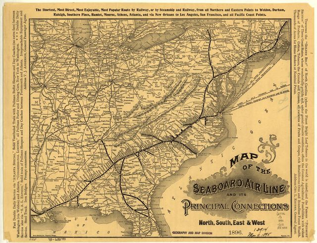 Map of the Seaboard Air Line and its principal connections north, south, east & west, 1896.