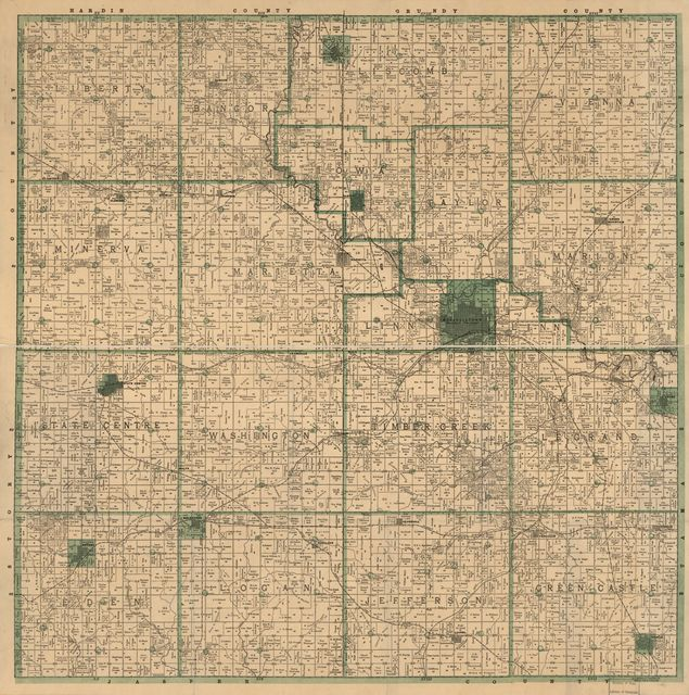 Melzar M. Dickson's township and sectional pocket map of Marshall County, Iowa.