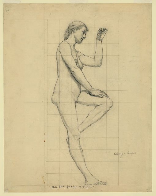 Nude study for figure of Physics