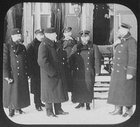 Prince Hilkoff, Minister of Ways and Communications, with his staff beside train, enroute to Moscow