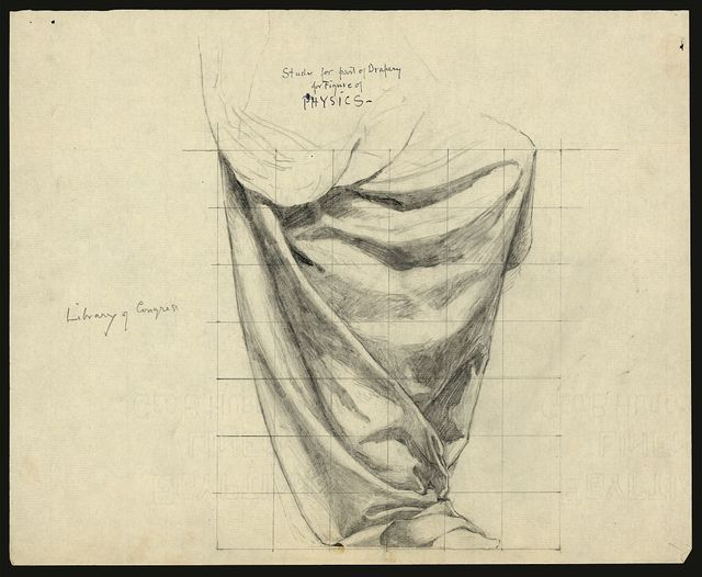 Study for part of drapery for figure of Physics