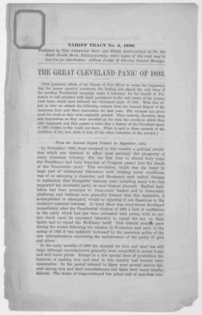The great Cleveland panic of 1893. Philadelphia. Published by The American iron and steel association. 1896.