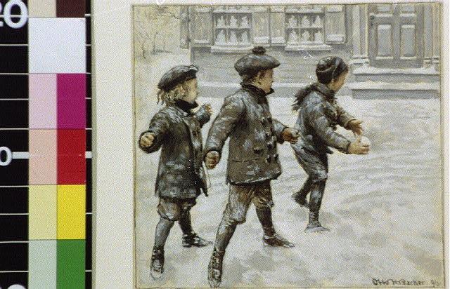 [Three children throwing snowballs]