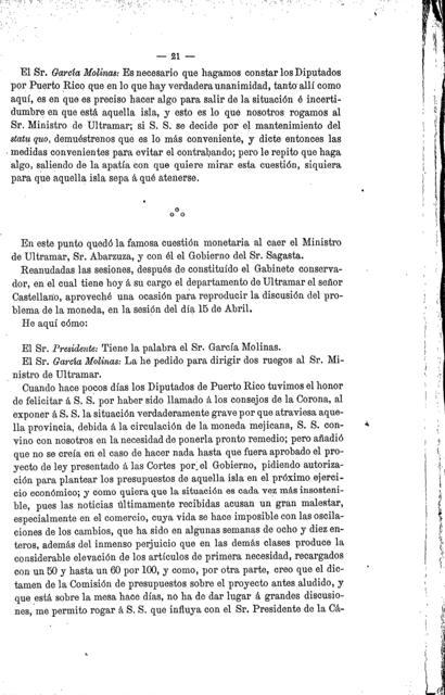 Trabajos parlamentarios de D. Francisco García Molinas, diputado á Cortes por San Juan de Puerto Rico