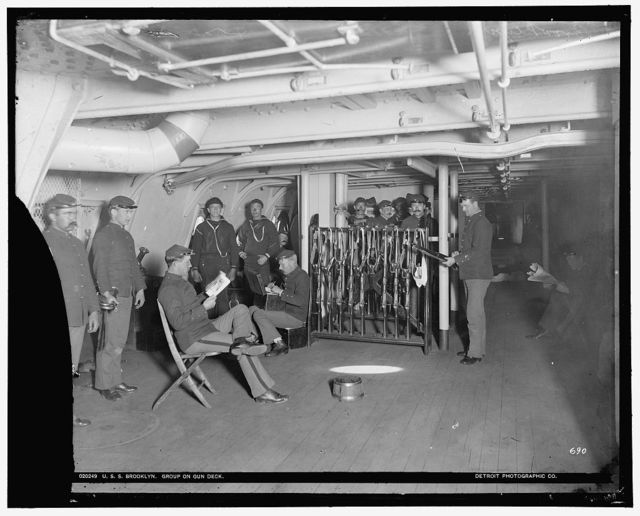 U.S.S. Brooklyn, group on gun deck