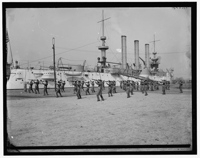 [U.S.S. Brooklyn, marine guard, bayonet drill]