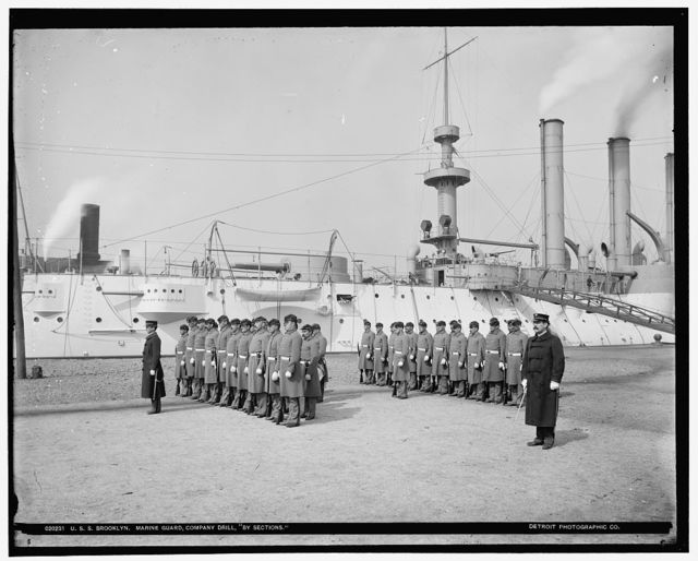 U.S.S. Brooklyn, Marine guard, company drill by sections