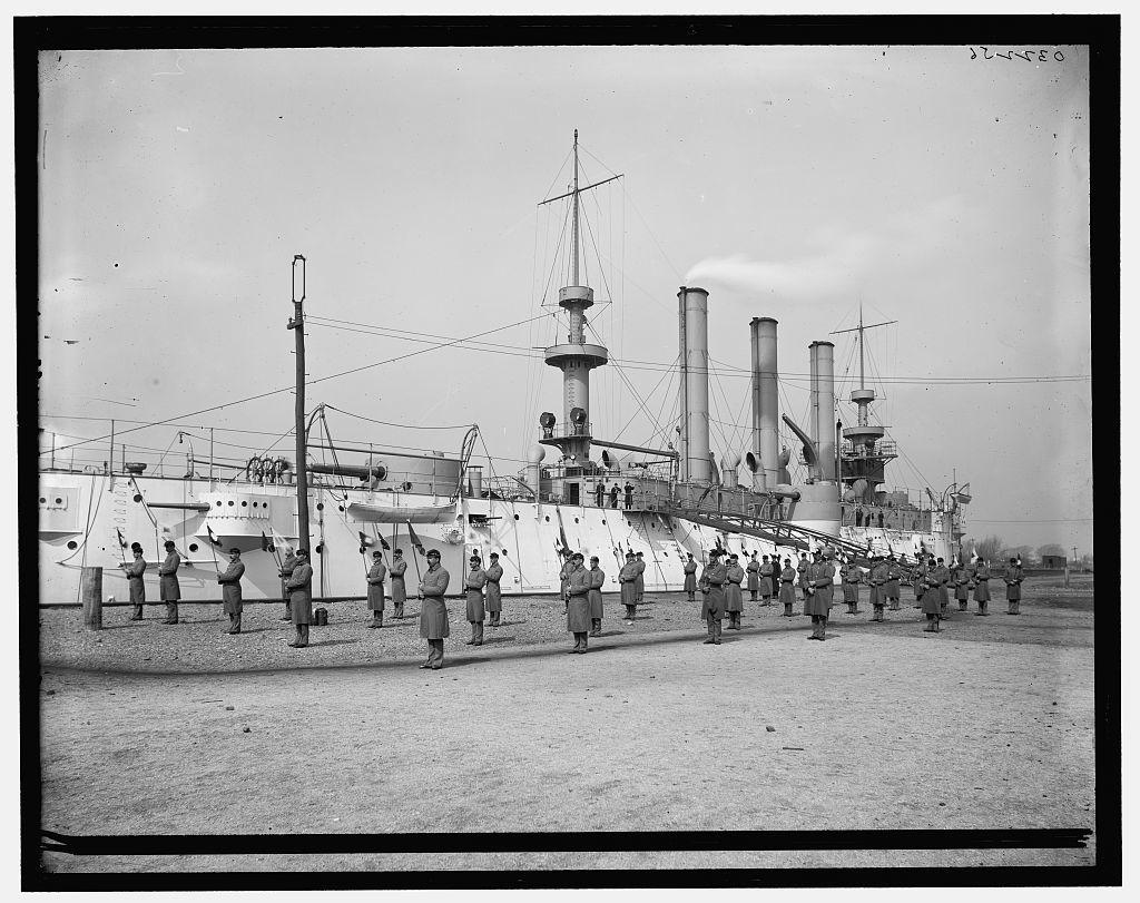 [U.S.S. Brooklyn, Marine Guard, signal drill]