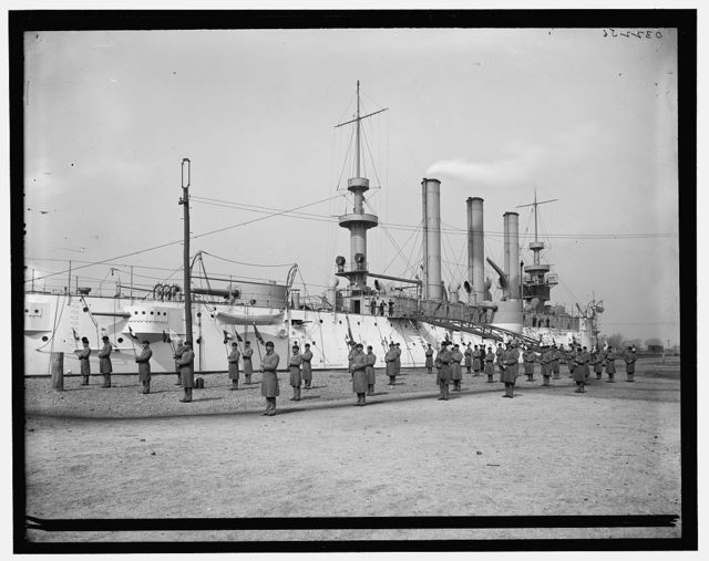 [U.S.S. Brooklyn, Marine Guard, signal drill]