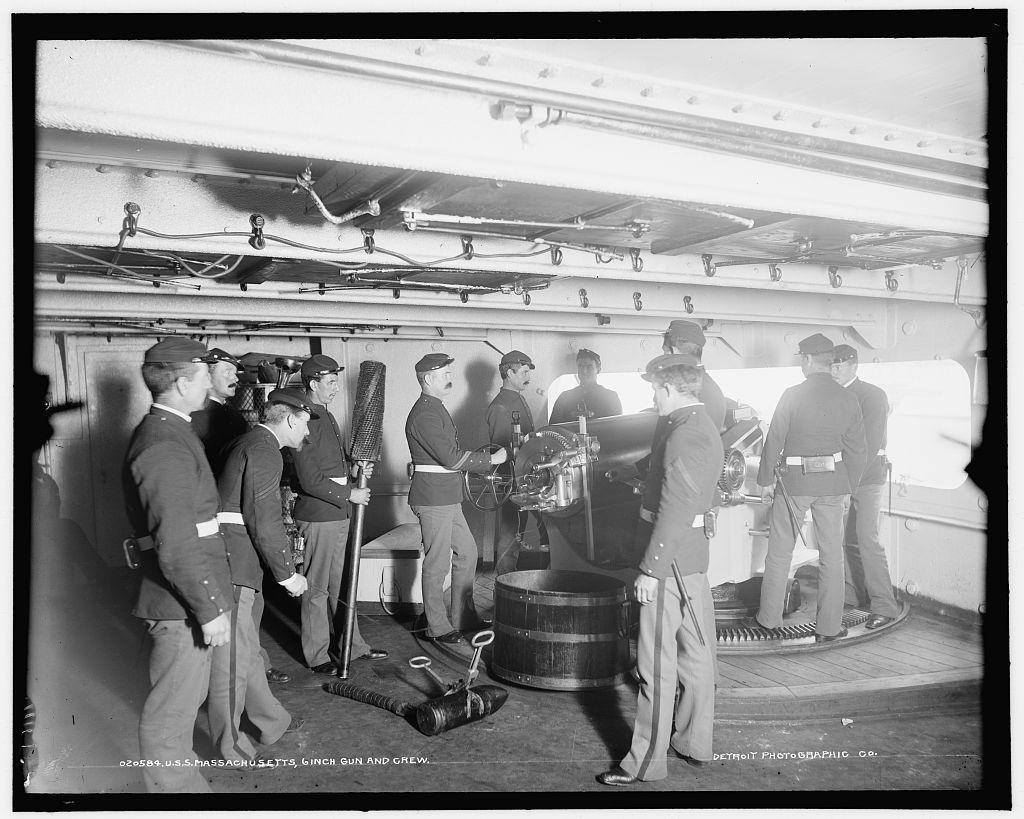 U.S.S. Massachusetts, 6 inch gun and crew