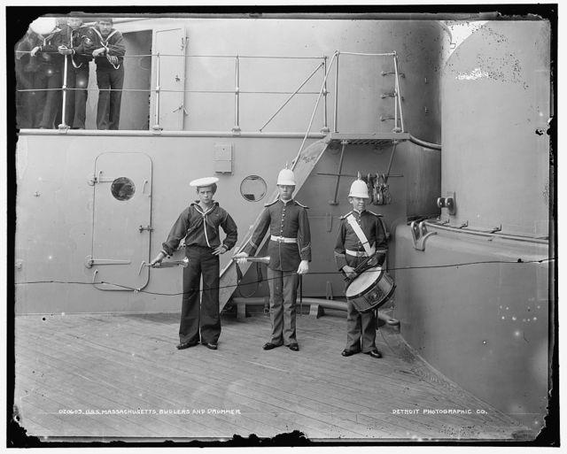 U.S.S. Massachusetts buglers and drummer