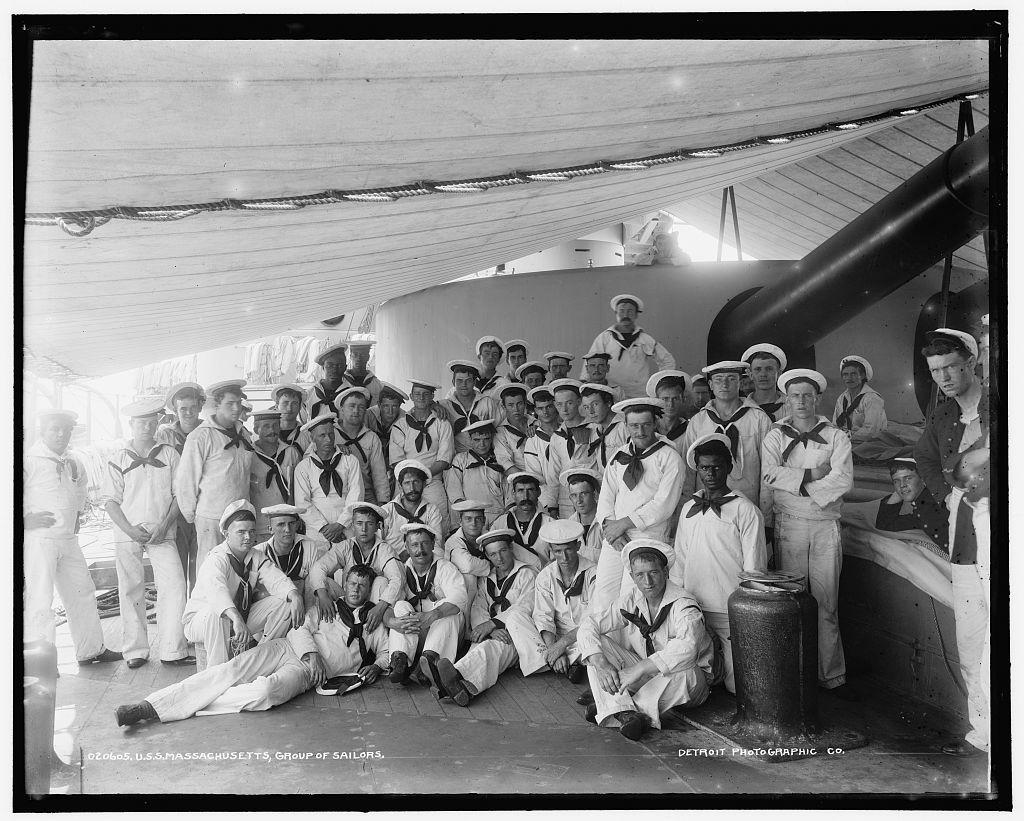 U.S.S. Massachusetts, group of sailors