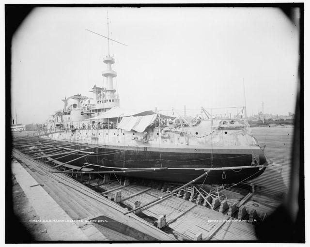 U.S.S. Massachusetts in dry dock