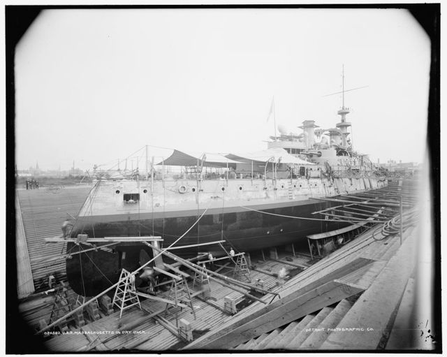 U.S.S. Massachusetts in dry dock