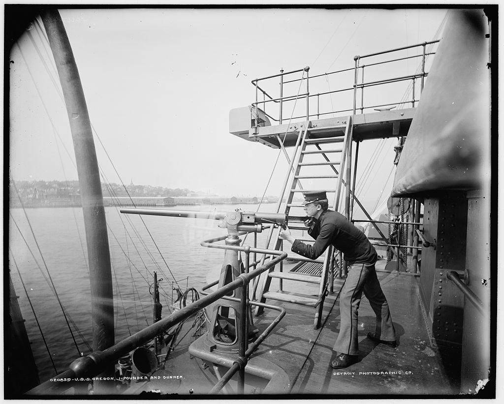 U.S.S. Oregon, 1-pounder and gunner