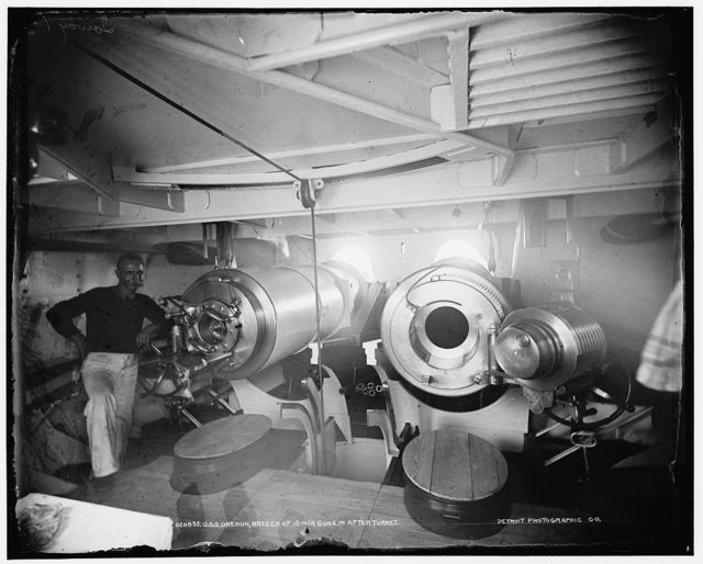 U.S.S. Oregon, breech of 13-inch guns in after turret