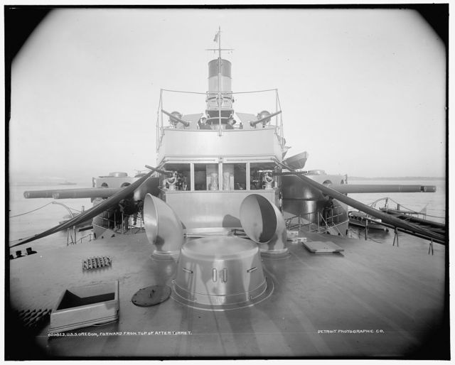 U.S.S. Oregon, forward from top of after turret