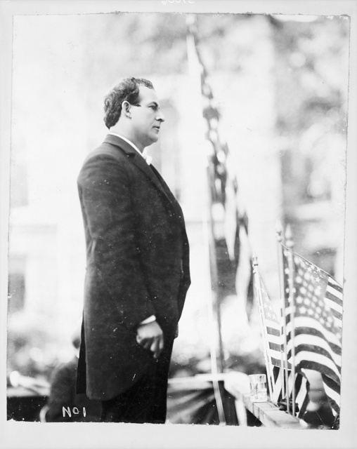 [William Jennings Bryan, 1860-1925, three-quarter length portrait, standing, speaking, right profile]