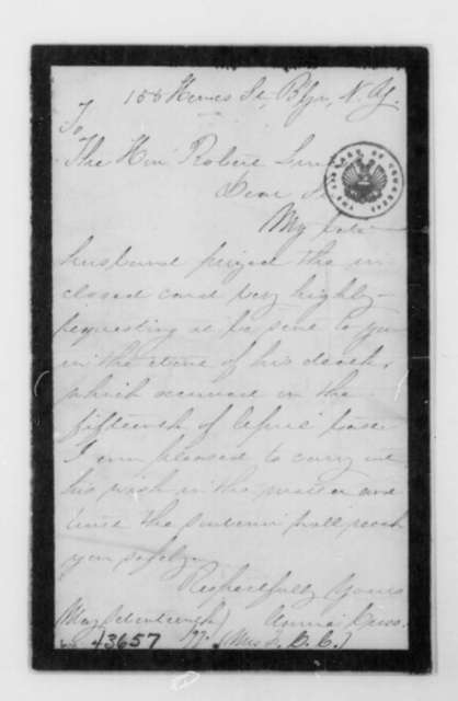 Annie Cress to Robert Todd Lincoln, May 17, 1897  (Sends note written by Abraham Lincoln; with card from Lincoln to Generals Burnside and Butler, Nov. 10, 1861)