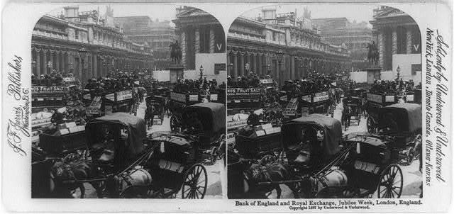 Bank of England and Royal Exchange, Jubilee Week, London, England