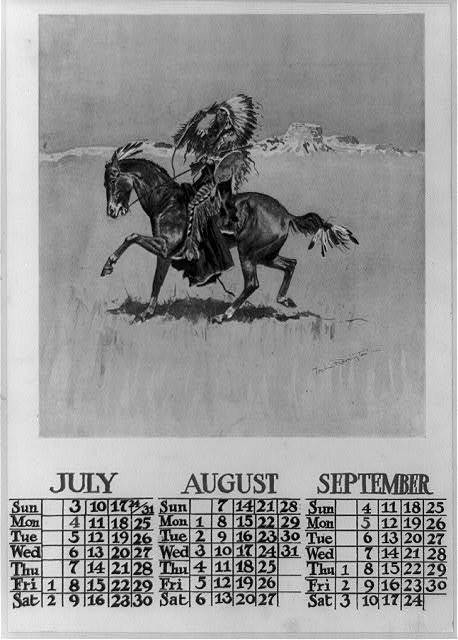 [Calendar for July, August, and September 1898, showing Cheyenne war chief on horseback] / Frederic Remington.