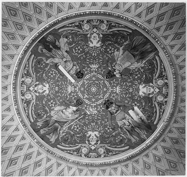 [Ceiling mural in the Thomas Jefferson Building, Library of Congress, with four allegorical female figures representing valor, fortitude, courage, and achievement]