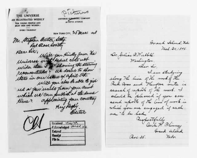Clara Barton Papers: Red Cross File, 1863-1957; American National Red Cross, 1878-1957; Relief operations; Spanish-American War; Requests for autographs, information, and photographs, 1897-1899, undated