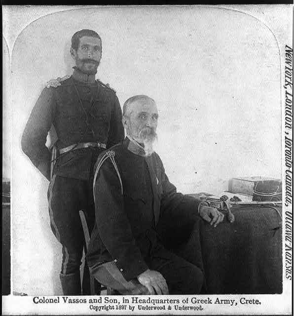 Colonel Vassos and son, in headquarters of Greek Army, Crete