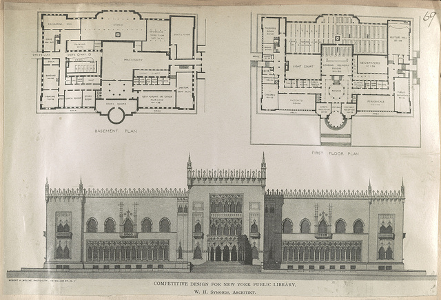 Competitive design for the New York Public Library / W.H. Symonds, architect.