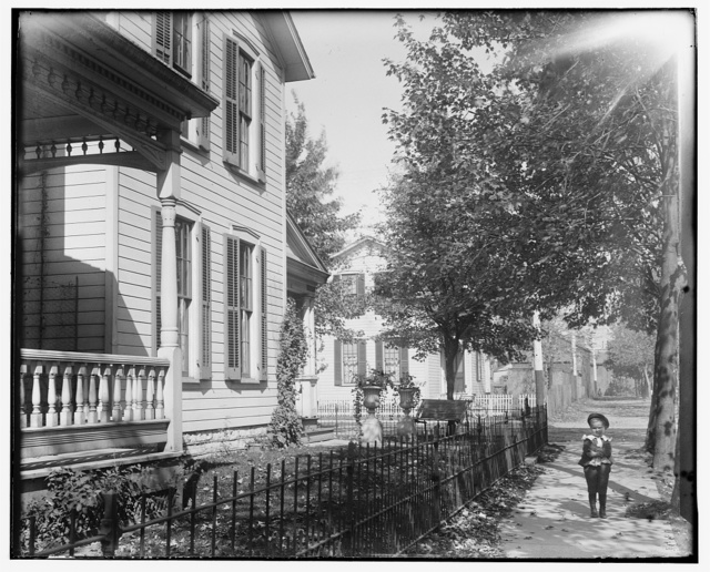 [Daniel Henderson, neighbor, in front of Wright home at 7 Hawthorn Street, Dayton, Ohio]