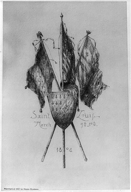 [Early scenes of Missouri Territory, 180-]: Crossed Flags, Saint Louis, March 9-10th, 1804