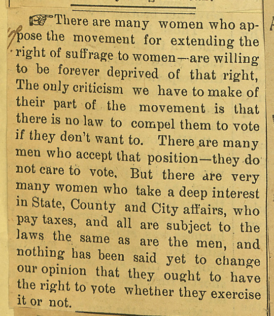 Editorial comment; There are many women who oppose the movement...