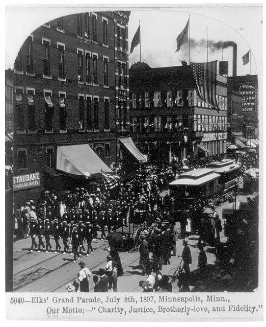 "Elks' Grand Parade, July 8, 1897, Minneapolis, Minn., Our motto: --""Charity, Justice, Brotherly-love, and Fidelity"""