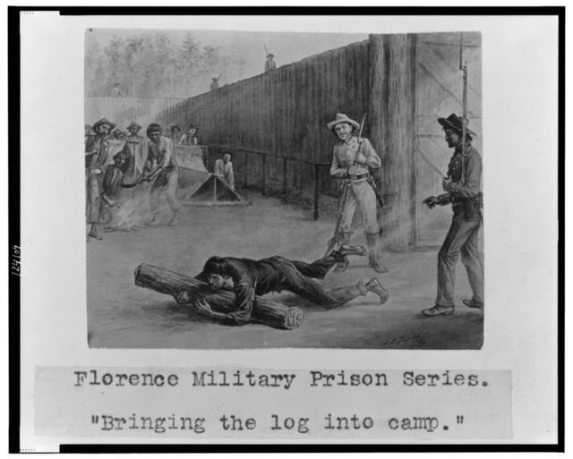 "Florence military prison series--""Bringing the log into camp"" / J.E. Taylor."