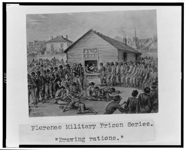 "Florence military prison series--""Drawing rations"" / J.E. Taylor."