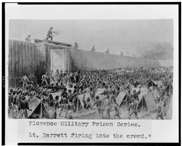 "Florence military prison series--""Lt. Barrett firing into the crowd"" / J.E. Taylor."