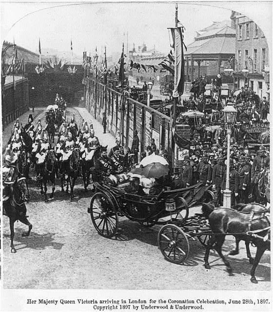 Her Majesty Queen Victoria arriving in London for the Coronation Celebration, June 28th, 1897