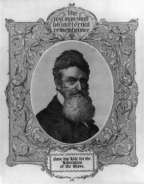 [John Brown, 1800-1859, bust portrait, facing right in memorial frame]