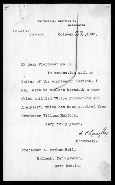 Letter from Samuel P. Langley to Alexander Graham Bell, October 22, 1897