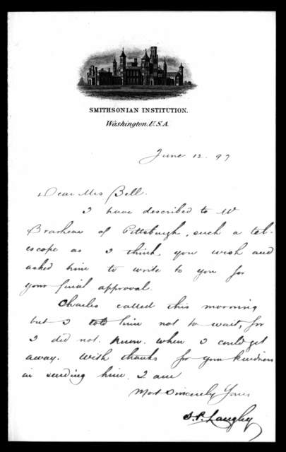 Letter from Samuel P. Langley to Mabel Hubbard Bell, June 12, 1897